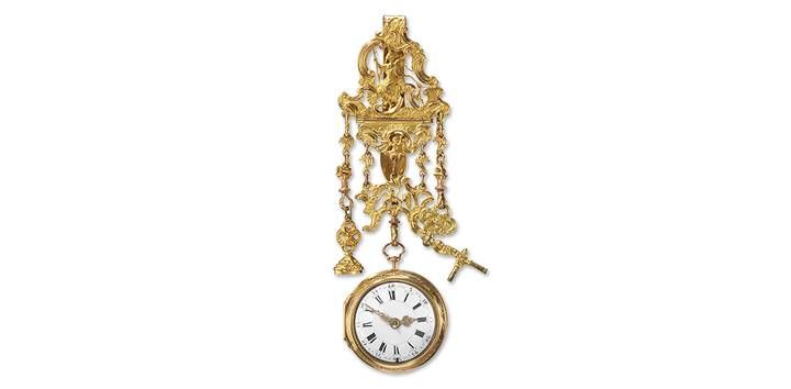Pocket watch with outer case and chatelaine, George Graham, London, about 1730, Taschenuhrensammlung Philipp Weber, on permanent loan from the Sparkasse Pforzheim Calw Art Foundation, photo Rüdiger Flöter