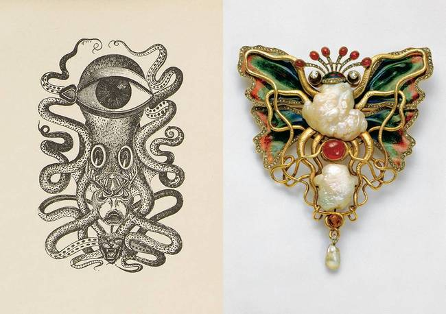 Max Ernst: Frontispie of La dame ovale by Leonora Carrington, 1939, a book with eight reproductions after collages by Max Ernst, The Würth Collection, © VG Bild-Kunst, Bonn 2020, in dialogue with »Octopus and butterfly« brooch, design Lucas Cranach, 1900