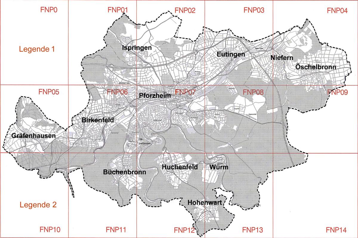 Bild: Planübersicht Flächennutzungsplan Pforzheim