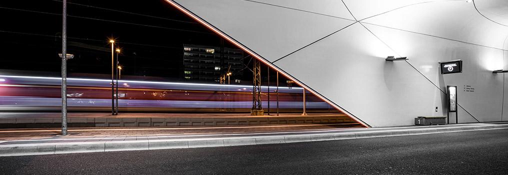 Bild: Aufnahme ZOB Pforzheim bei Nacht