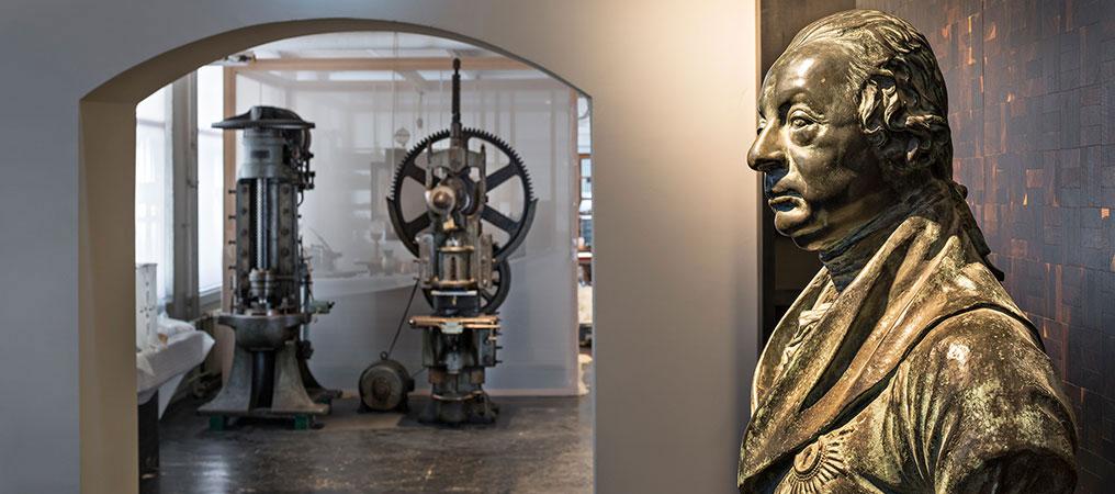 Büste des Markgrafen Karl Friedrich von Baden (1728-1811)  im Eingangsbereich des Technischen Museums, © TMP, Foto Winfried Reinhardt
