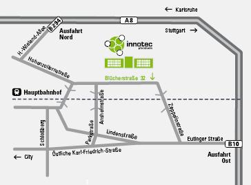 Bild: Anfahrstplan - Straßenkarte Innotec Pforzheim