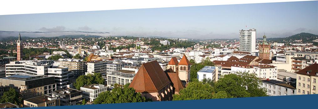 Symbolbild: Stadtansicht Pforzheims nach Blickrichtung Westen