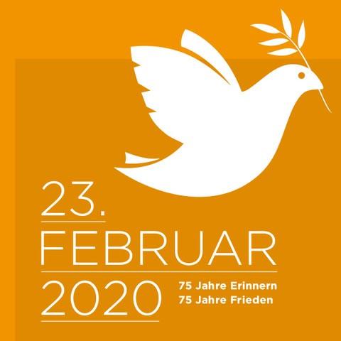 "Plakat ""23. Februar 2020. 75 Jahre Frieden"""