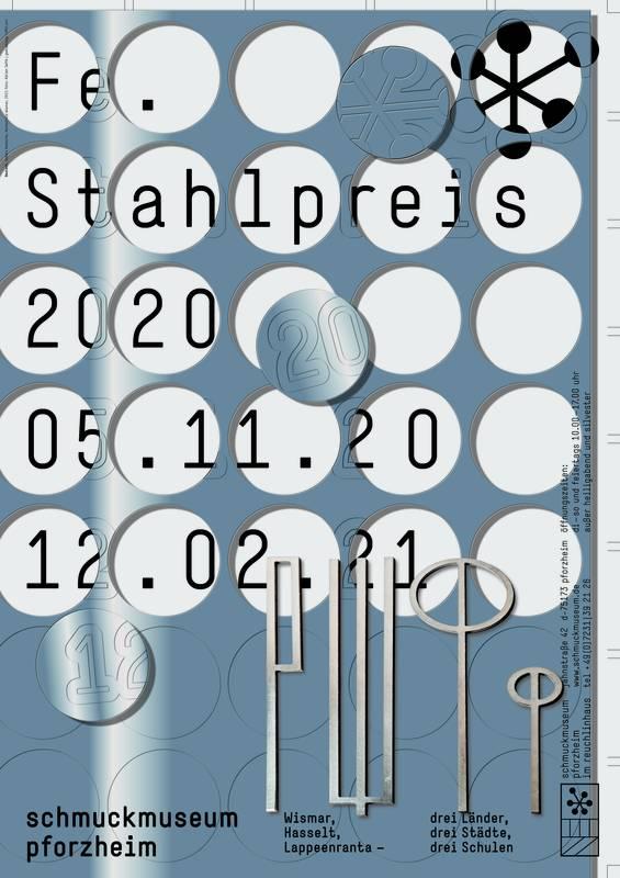 """Plakat zur Ausstellung """"Fe. Stahlpreis 2020"""""""