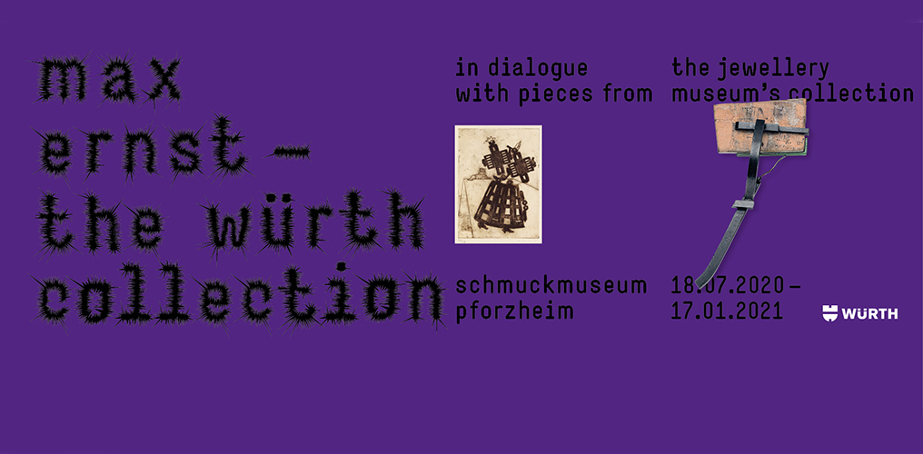 "Poster of the exhibition ""Max Ernst - The Würth Collection. In dialogue with pieces from the Jewellery Museum's collection"""