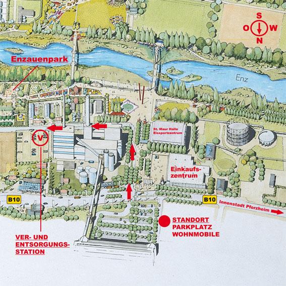Stellplatz Übersicht am Enzauenpark