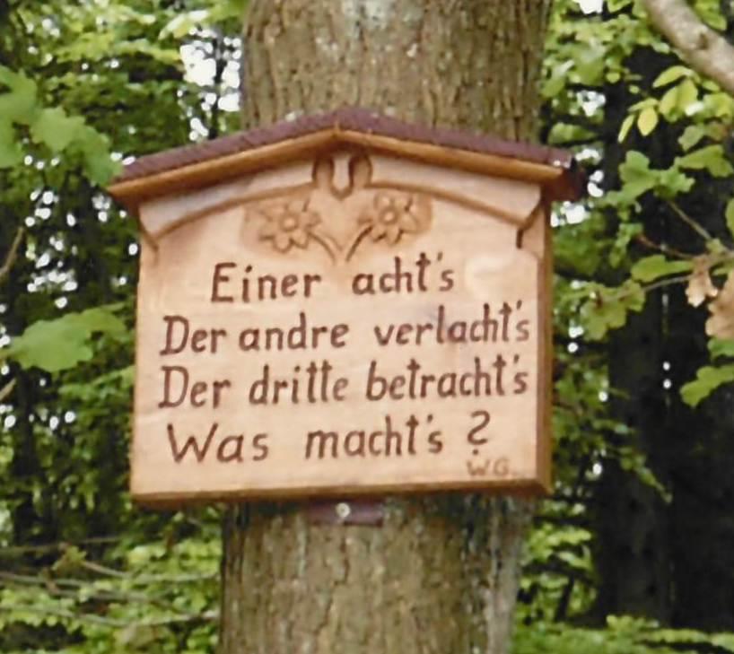 """Holzschnitt """"Der Eine acht´s, der Andere verlacht´s, der Dritte betracht´s, Was macht´s?"""""""
